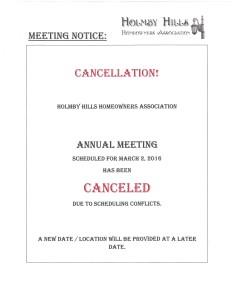 HHHOA - ANNUAL MEETING (CANCELLATION-POSTPONEMENT)